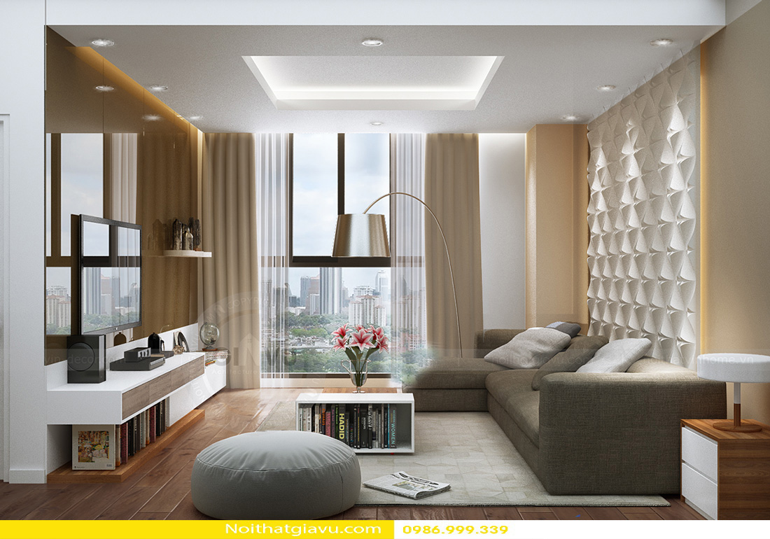thiết kế nội thất chung cư Gardenia 2 phòng ngủ 01