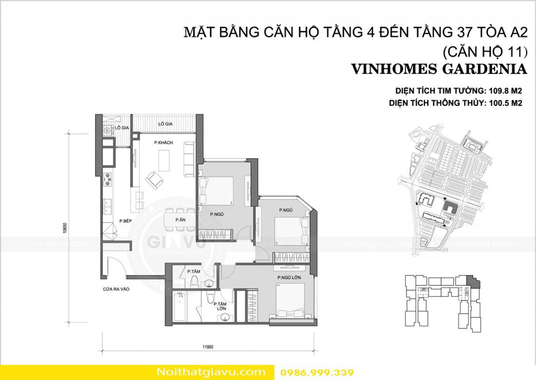 thiết kế nội thất chung cư Gardenia a2 11 00