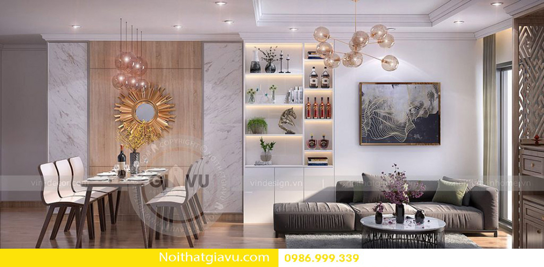 thiết kế nội thất chung cư phòng khách mệnh thổ 01
