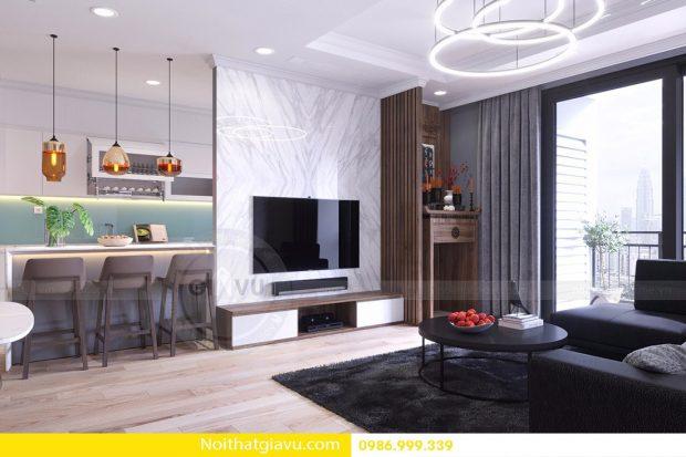 Thiết kế nội thất căn hộ D'Capitale 2 phòng ngủ sang trọng