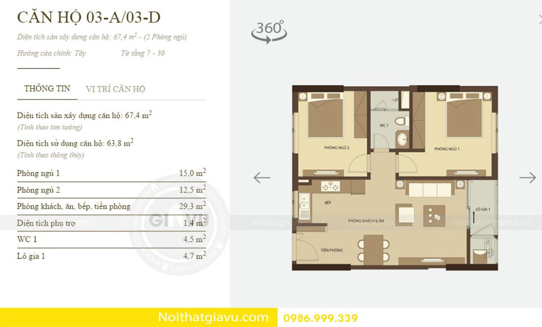 Thiết kế nội thất chung cư Mandarin Garden 2 view 1