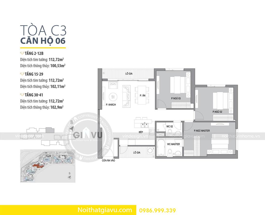 Thiết kế nội thất chung cư Vinhomes D Capitale tòa c3 căn 06 01