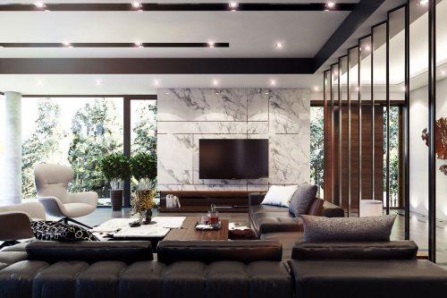 Biệt thự Green Bay- Mẫu thiết kế nội thất phòng khách sang trọng