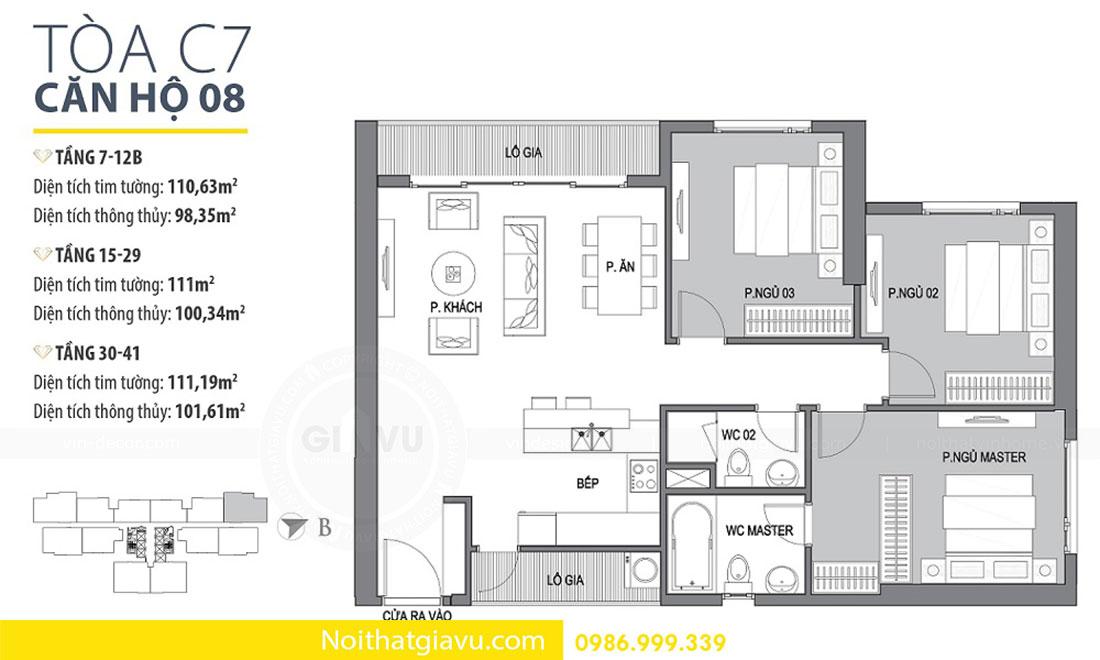 Mặt bằng thiết kế nội thất chung cư D Capitale căn 08 tòa C7