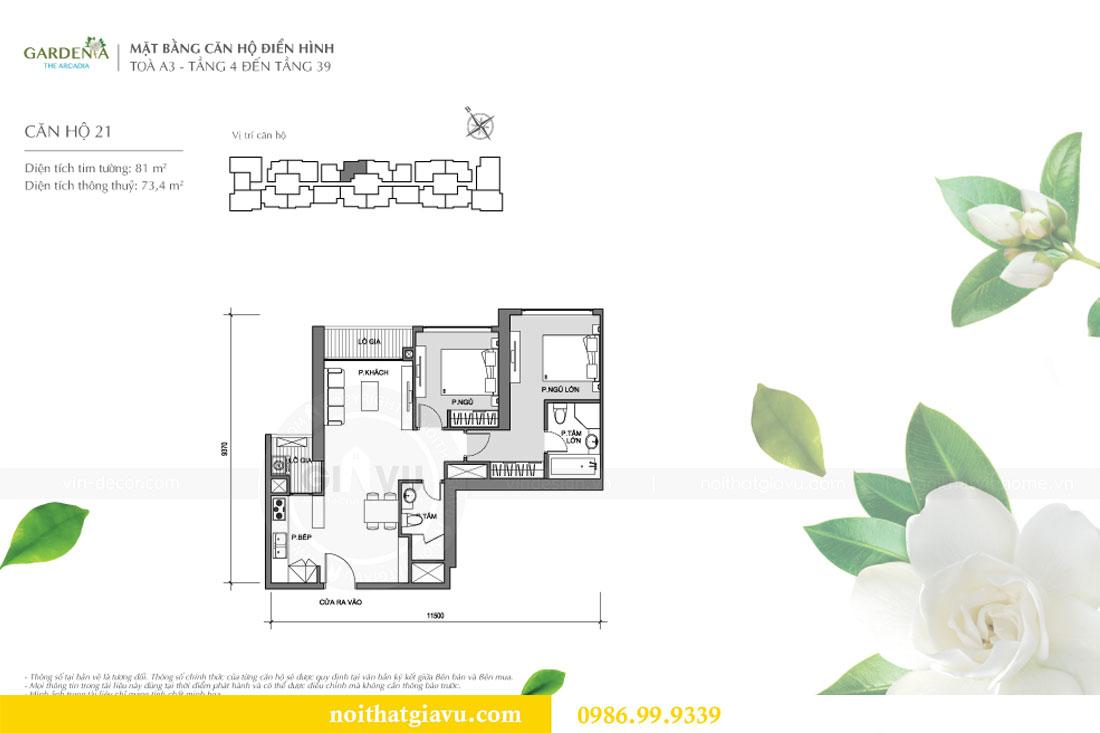 Mặt bằng thi công hoàn thiện nội thất chung cư Gardenia căn 21 tòa A3