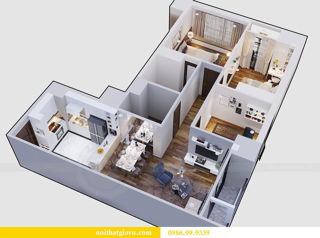 Mặt bằng thiết kế thi công nội thất chung cư Dcapitale căn 3 ngủ