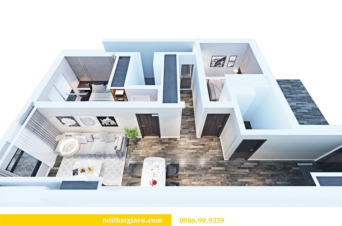 Phối cảnh thiết kế nội thất chung cư Sky Lake đẹp hiện đại - Lh 0986999339