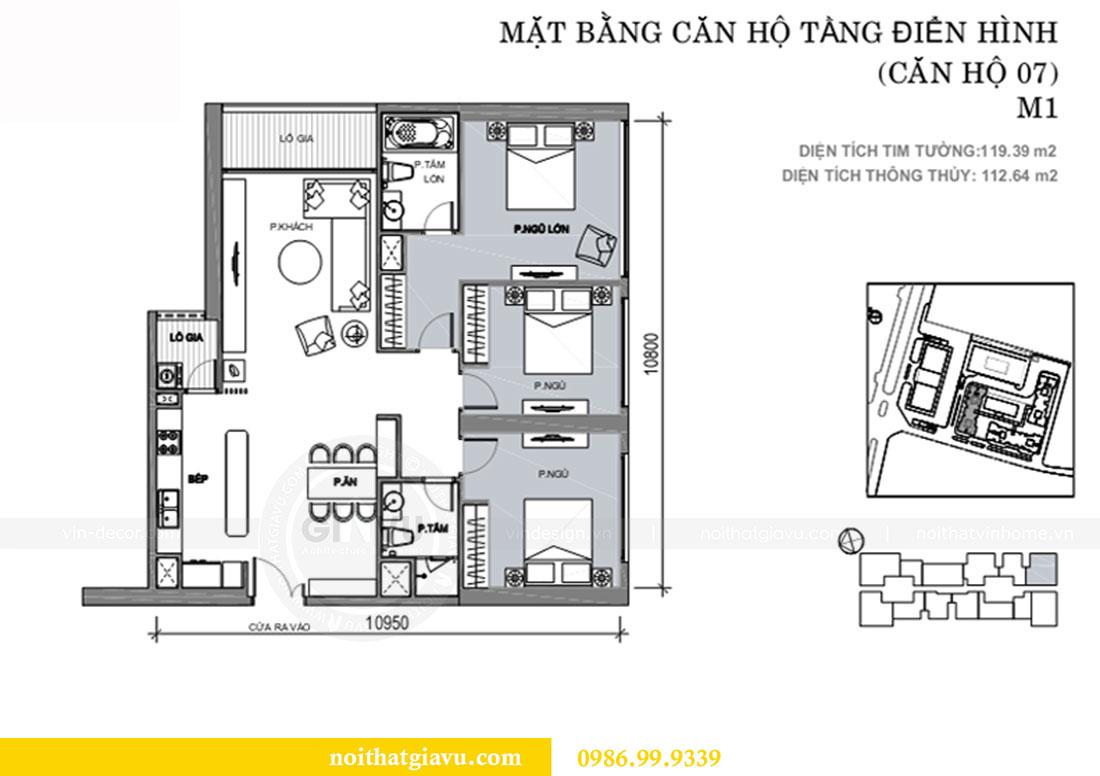 Mặt bằng thiết kế nội thất chung cư Metropolis căn 07 tòa M1
