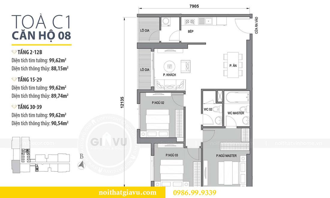 Mặt bằng Thiết kế nội thất Vinhomes D Capitale căn 08 tòa C1 - Anh Thắng