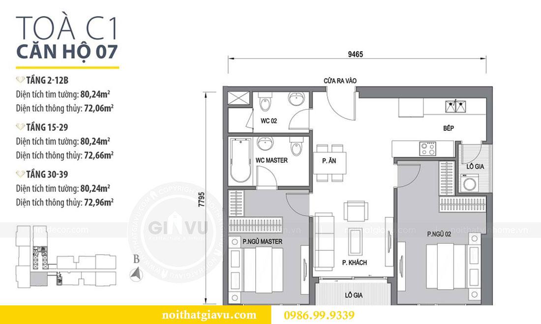 Mặt bằng thiết kế nội thất Vinhomes D Capitale tòa C1 căn 07 - Anh Chung