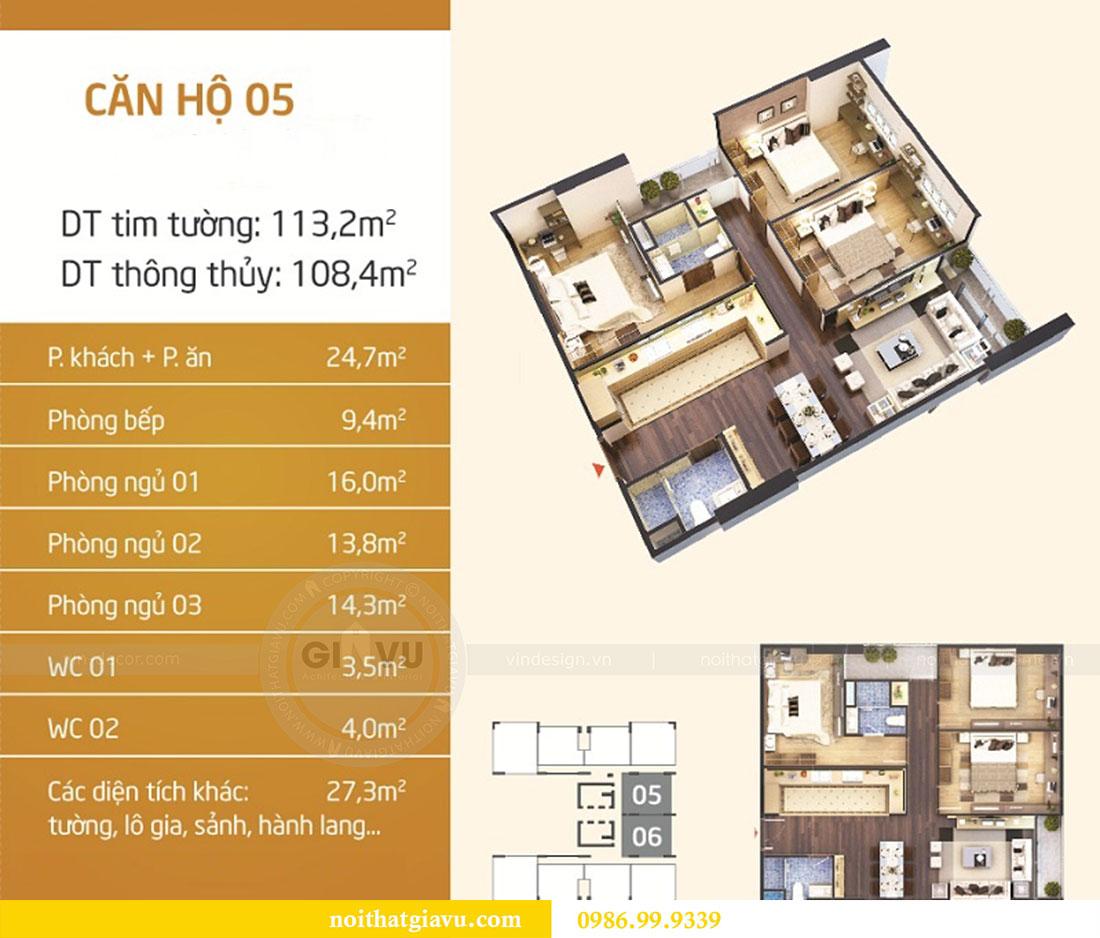 Mặt bằng thiết kế nội thất chung cư Ngoại Giao Đoàn tòa N01-T5 căn 05 chị Hoa