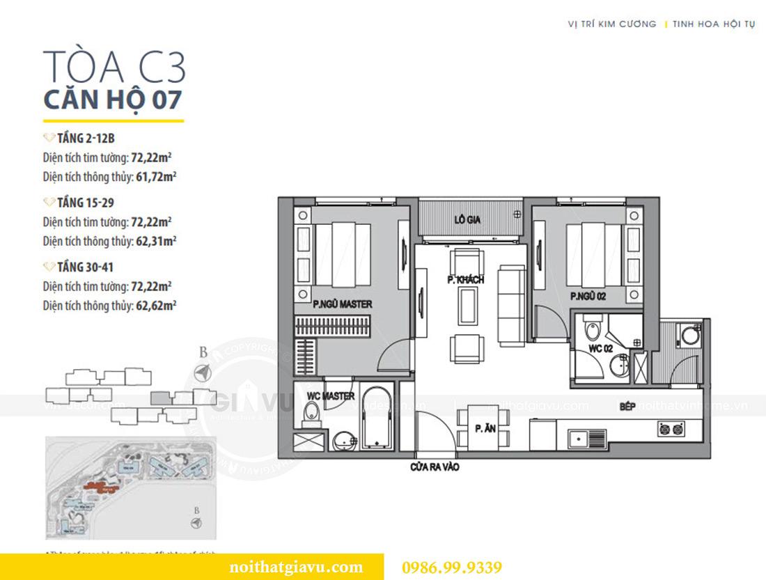 Mặt bằng thiết kế căn hộ 07 tòa C3 Vinhomes Dcapitale căn 2 ngủ chị Hải