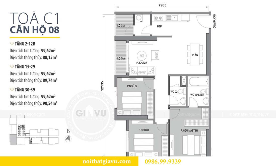 Mặt bằng thiết kế căn hộ Vinhomes Dcapitale căn 3 ngủ tòa C1 08 anh Thông