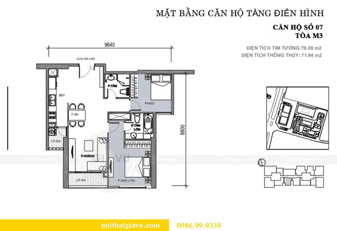 Mặt bằng thiết kế thi công nội thất chung cư Vinhomes Metropolis căn 07 tòa M3