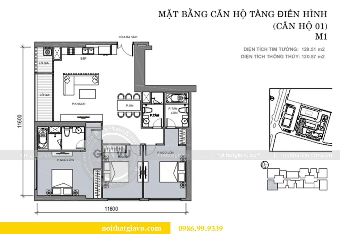 Mặt bằng thiết kế nội thất Vinhomes Liễu Giai tòa M1 căn 01 - Chị Trang