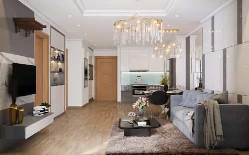 Mẫu thiết kế nội thất chung cư Sky Lake căn 2 ngủ đẹp hiện đại