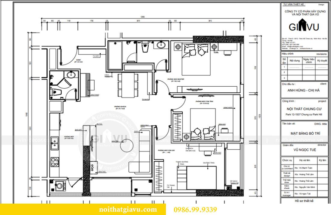 Mặt bằng thiết kế căn hộ chung cư Vinhomes Sky Lake tòa S2 nhà chị Hà