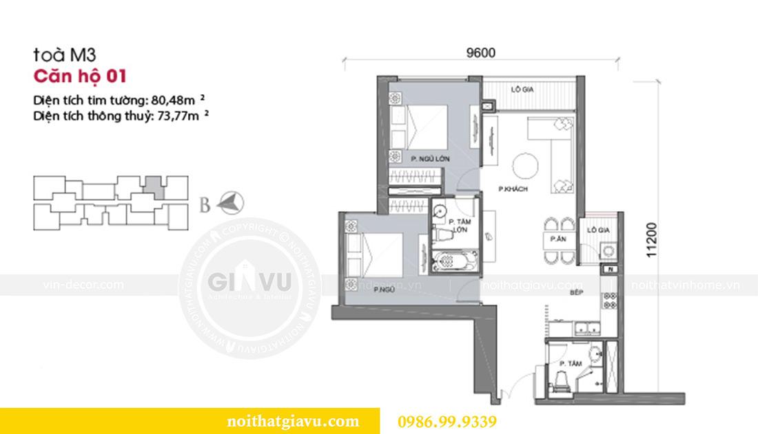 Mặt bằng thiết kế nội thất căn hộ Metropolis tòa M3 01 nhà anh Thịnh
