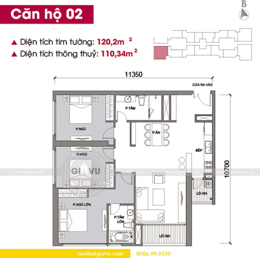 Mặt bằng thiết kế thi công căn hộ Vinhomes Metropolis tòa M2 căn 02 - chú Bình