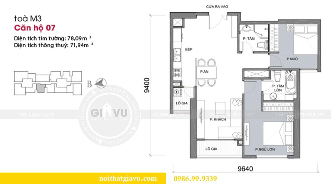 Mặt bằng thiết kế thi công nội thất chung cư Liễu Giai căn 07 tòa M3 - chị Thương