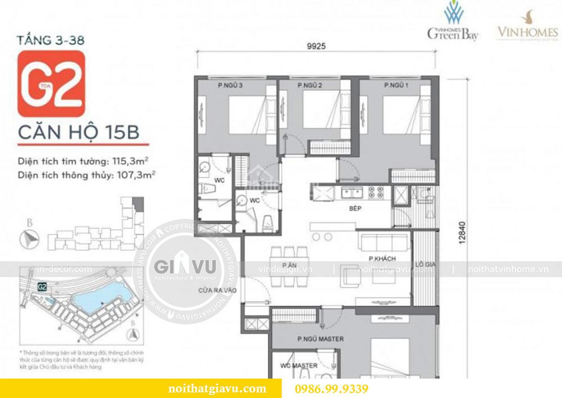 Mặt bằng thiết kế chung cư Vinhomes Green Bay tòa G2 căn 15B - Anh Thắng