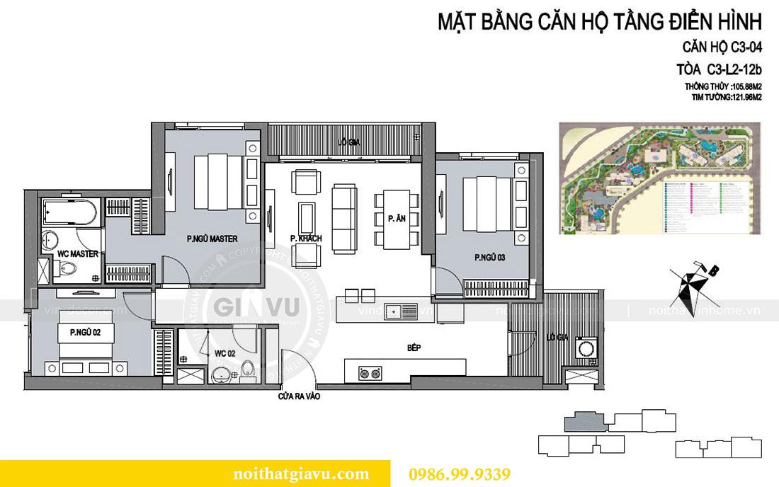 Mặt bằng thiết kế thi công nội thất trọn gói chung cư Dcapitale tòa C3 căn 04