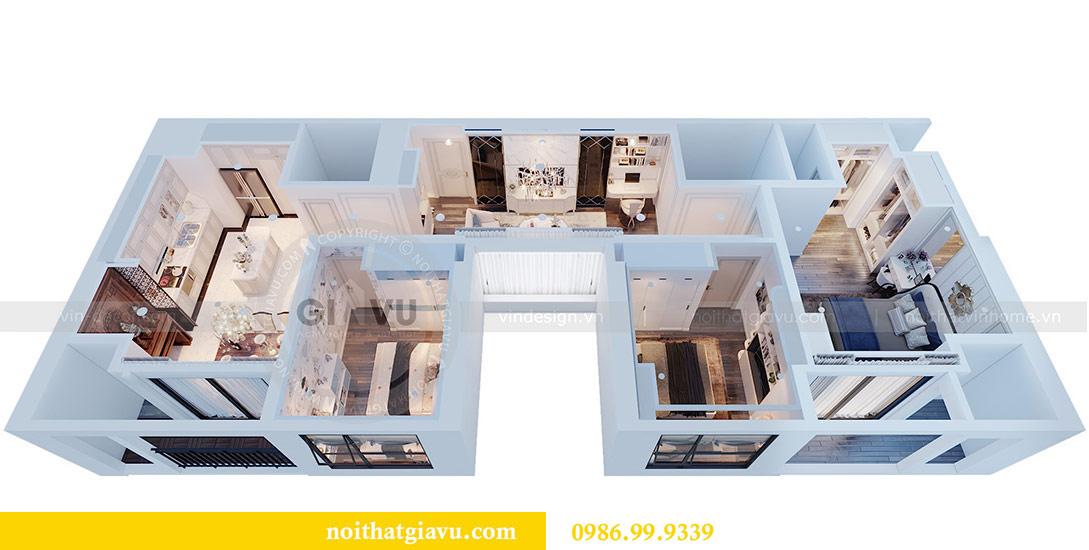 Phối cảnh thiết kế nội thất chung cư Mễ Trì tòa G1 căn 3 ngủ nhà chị Thu