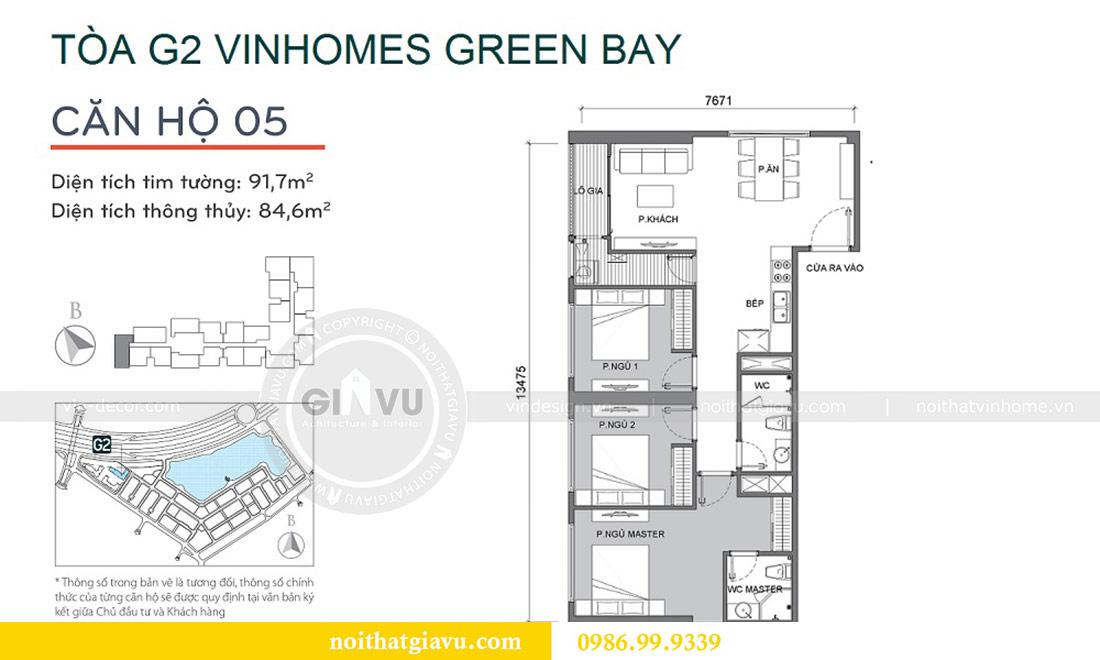 Mặt bằng thiết kế nội thất Vinhomes Green Bay tòa G2 căn 05 - chị Trang