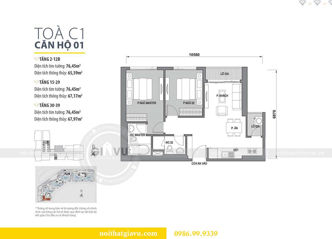 Mặt bằng thiết kế thi công nội thất Vinhomes Dcapitale tòa C1 căn 01 - anh Nam