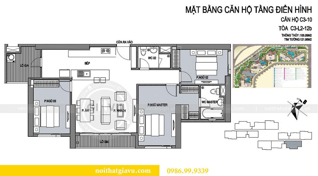 Mặt bằng thiết kế nội thất chung cư Dcapitale tòa C3 căn 10 - chị Hằng