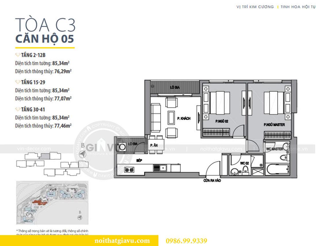 Mặt bằng thiết kế thi công nội thất Vinhomes Dcapitale tòa C3 căn 05