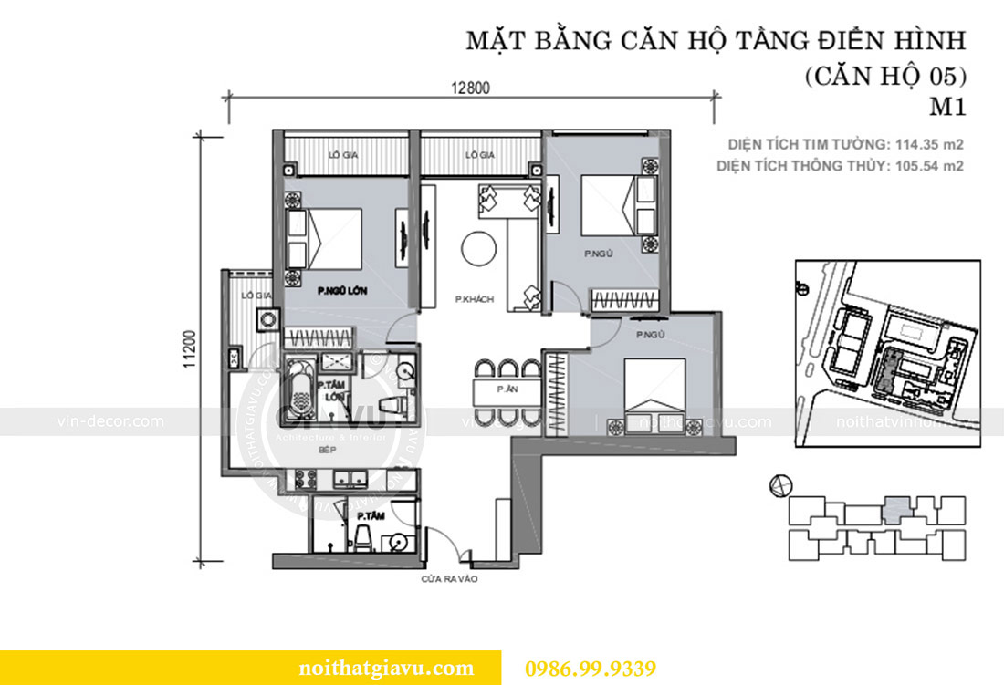 Mặt bằng thiết kế căn hộ cao cấp Metropolis phong cách tân cổ điển - chị Lan