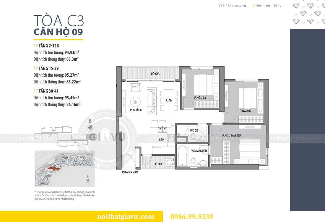Mặt bằng thiết kế nội thất căn hộ chung cư Dcapitale tòa C3 căn 09 - anh Luân