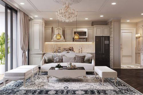 Thiết kế thi công nội thất chung cư 120m2 đẹp sang trọng – chị Hương