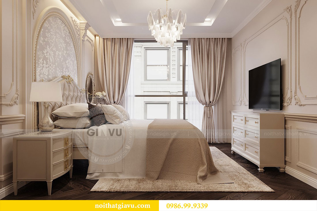 Thiết kế thi công nội thất chung cư 120m2 đẹp sang trọng - chị Hương 9
