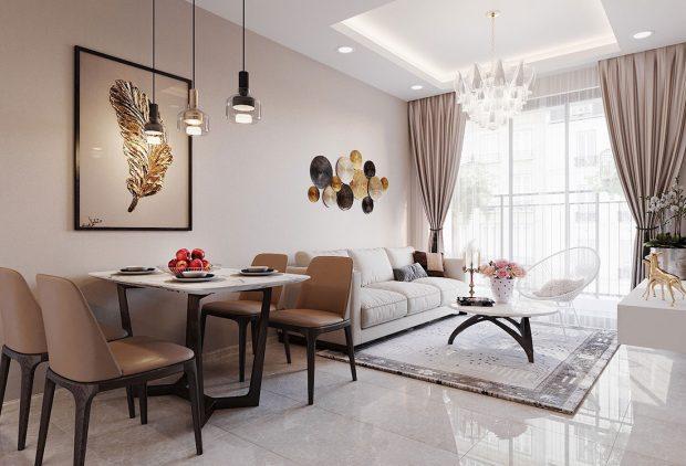 Chiêm ngưỡng mẫu thiết kế nội thất căn hộ 2 phòng ngủ đẹp hiện đại