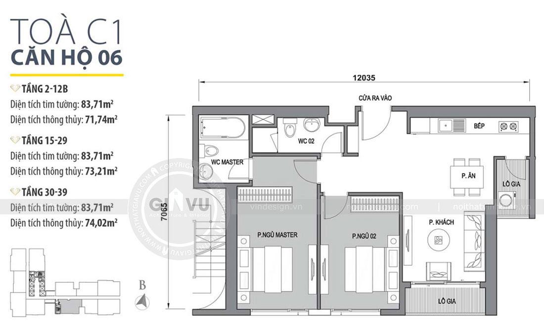 Mặt bằng thiết kế nội thất căn hộ 2 phòng ngủ đẹp hiện đại