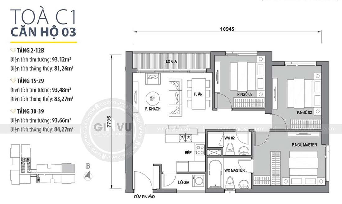 Mặt bằng thiết kế nội thất chung cư Dcapitale Trần Duy Hưng căn 3 ngủ