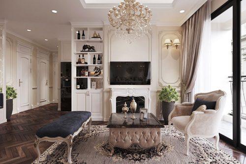 Thiết kế nội thất chung cư 107m2 phong cách tân cổ điển – anh Nam