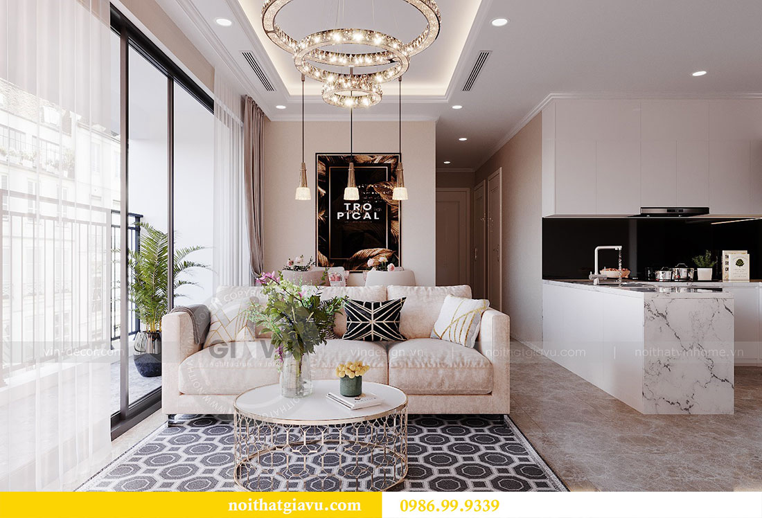 Thiết kế nội thất chung cư Dcapitale Trần Duy Hưng căn 3 ngủ 3