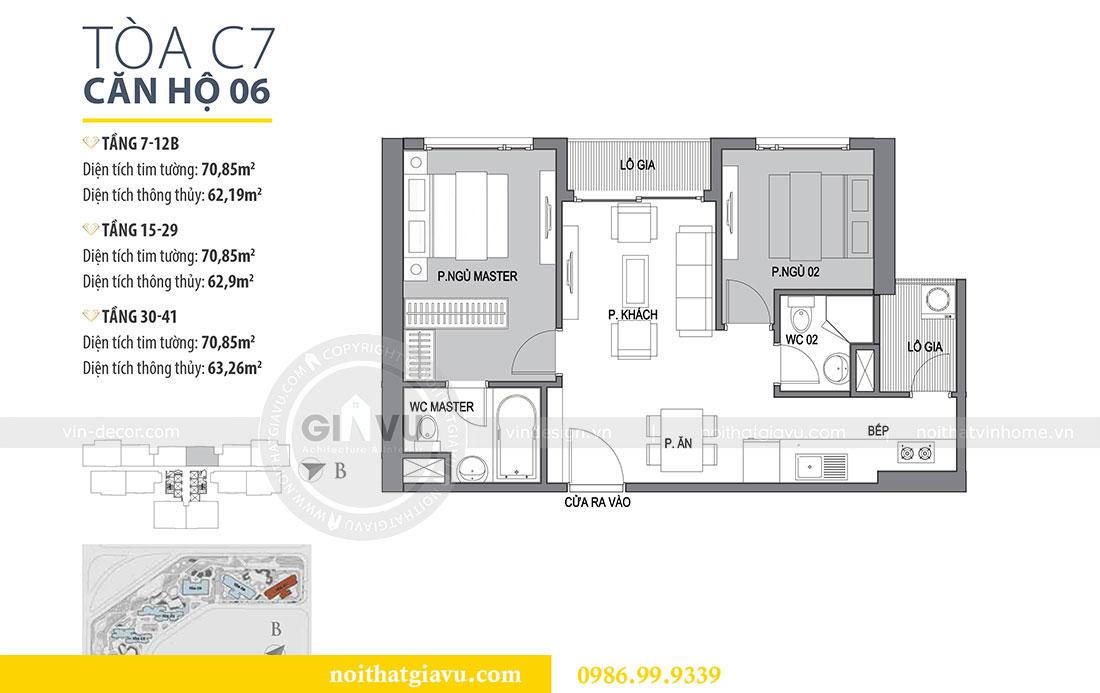 Mặt bằng bố trí không gian nội thất chung cư Dcapitale