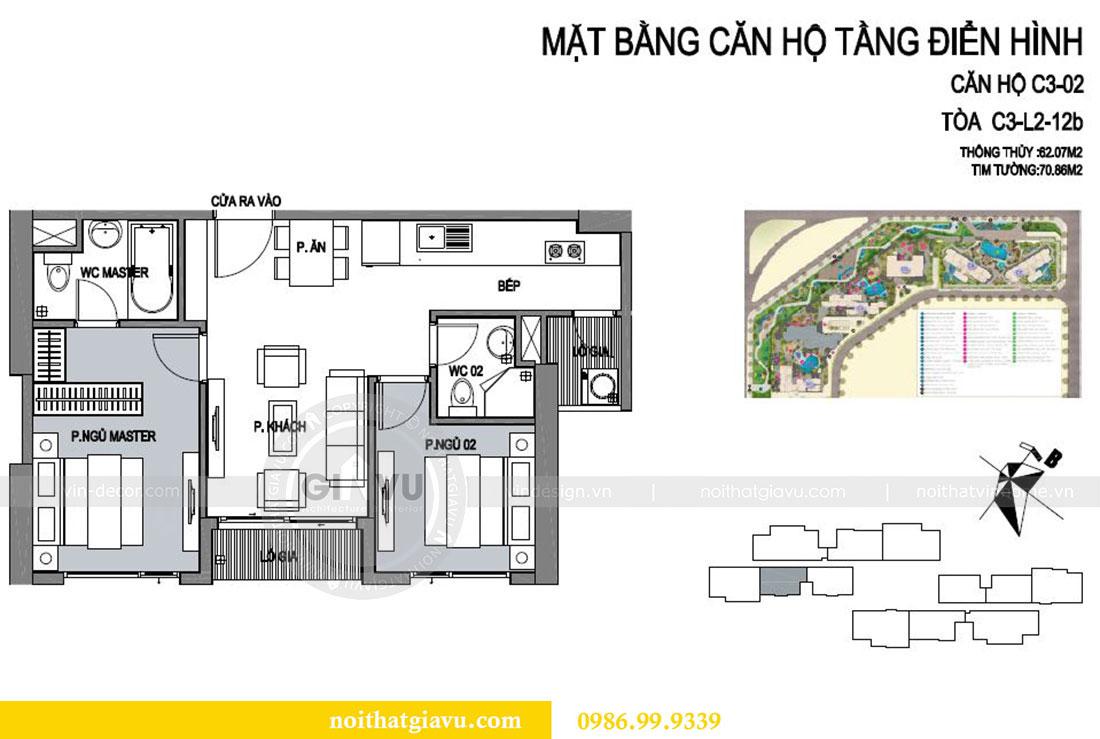 Mặt bằng thiết kế nội thất chung cư 62m2 nhà chị Phương