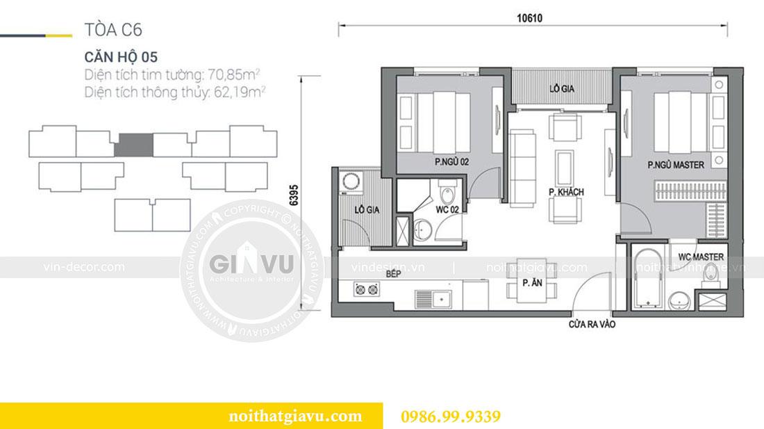 Mặt bằng thiết kế nội thất chung cư Dcapitale tòa C6 căn 05