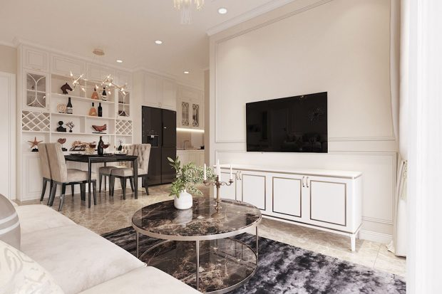 Tham khảo mẫu thiết kế nội thất chung cư 62m2 nhà chị Phương