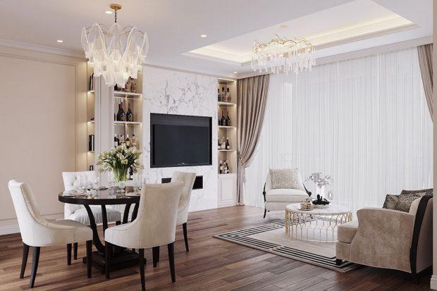 Chỉ với 12 triệu sở hữu mẫu thiết kế nội thất chung cư căn hộ 80m2