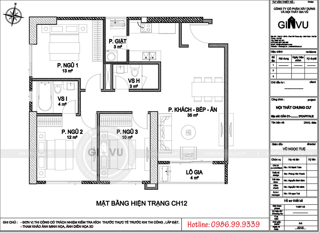 Mặt bằng bố trí nội thất căn hộ 12 tòa c7 chung cư Dcaitale