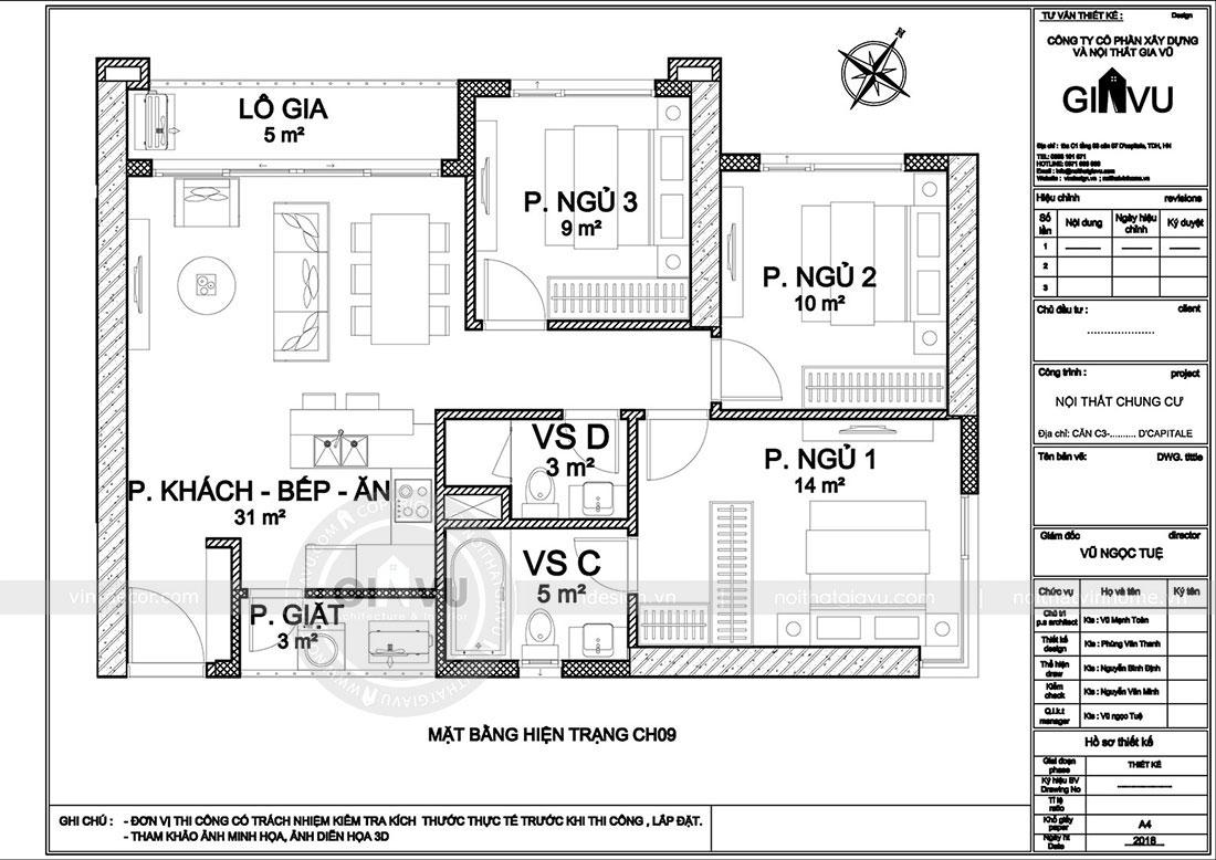 Mặt bằng bố trí nội thất công năng căn hộ 09 tòa C3