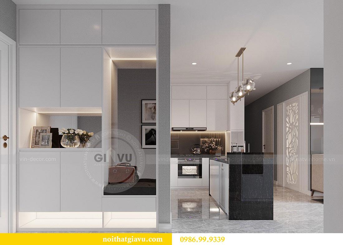 Tham khảo mẫu thiết kế nội thất phòng khách bếp chung cư Dcapitale 1