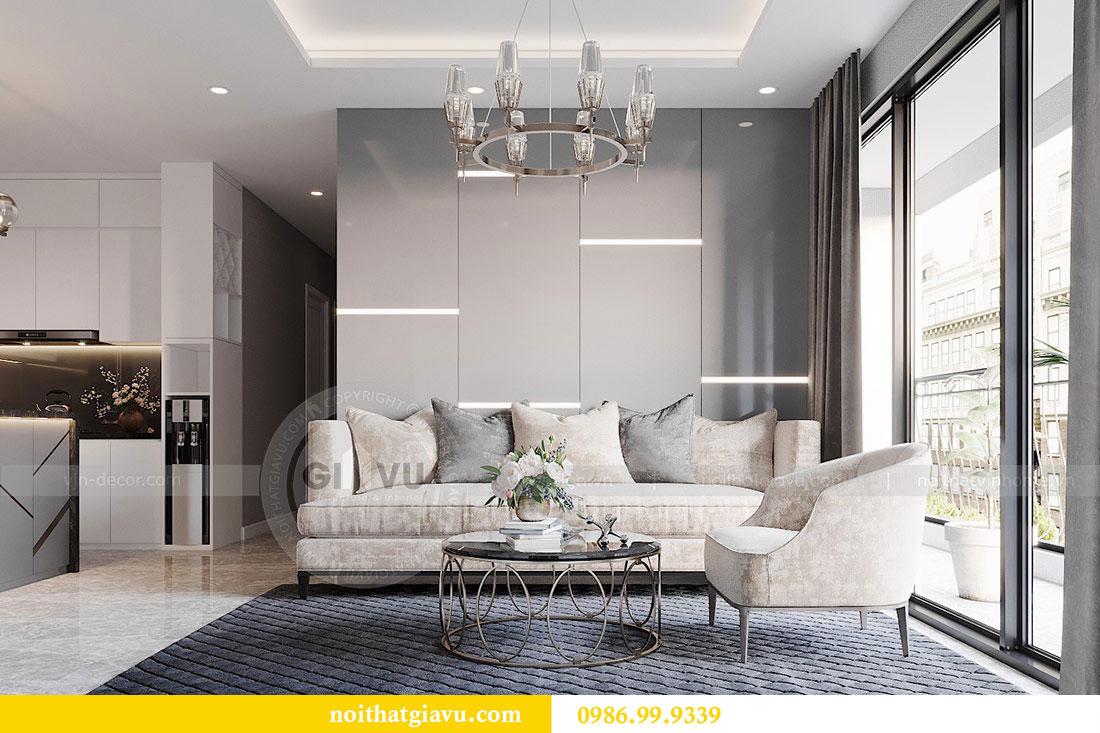Tham khảo mẫu thiết kế nội thất phòng khách bếp chung cư Dcapitale 3