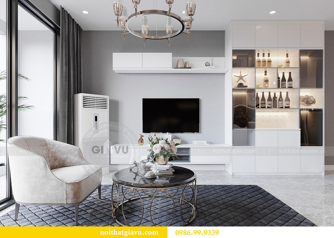 Tham khảo mẫu thiết kế nội thất phòng khách bếp chung cư Dcapitale 4